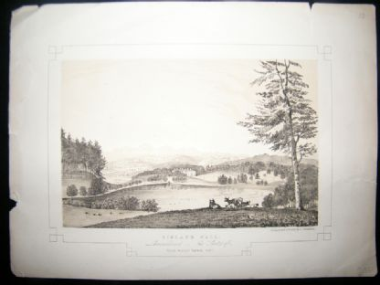 Twycross Lancashire 1846 Antique Print. Bigland Hall | Albion Prints